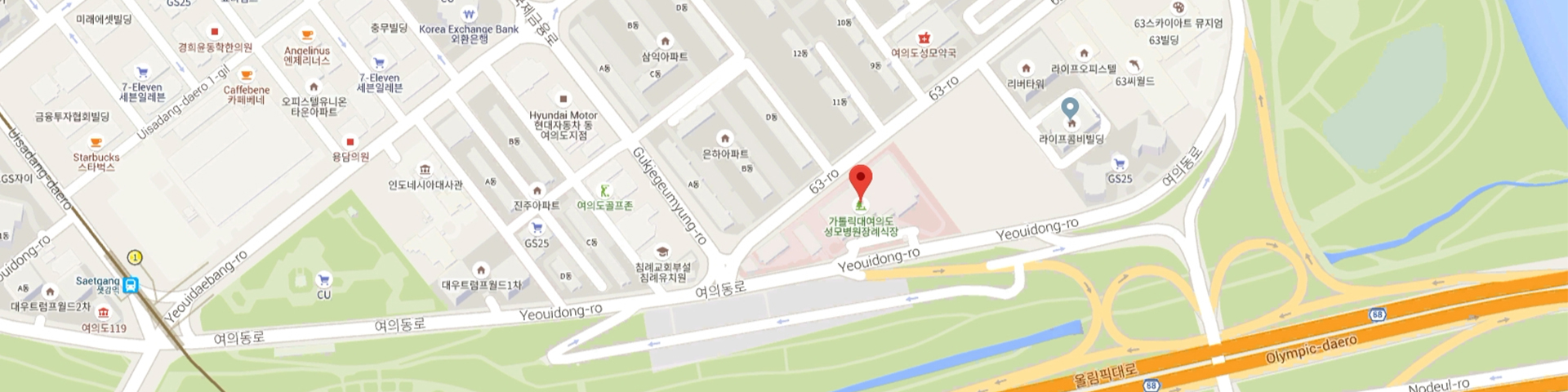 How to find us > About Us > The Catholic University of Korea Yeouido Catholic University Map on